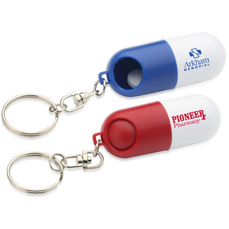 Capsule Shaped Pill Holder With Keychain