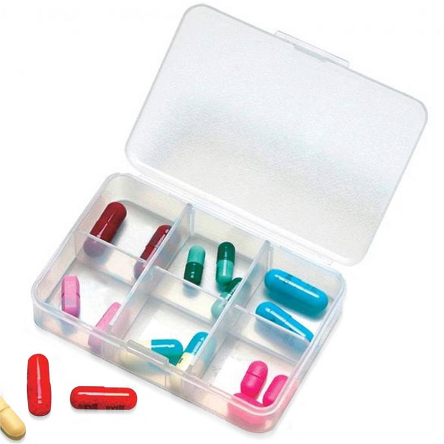 Clear 6 Compartment Pill Storage Box