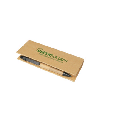 Eco Post-It Notes Box With Recycled Paper Pen And