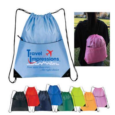 210D Nylon Zippered Drawstring Backpack