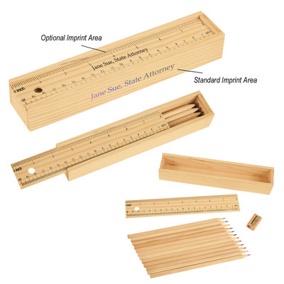 12- Piece Coloured Pencil Set In Wooden Ruler Box