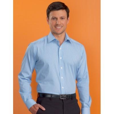 Bengal Stripe Mens Stretch Slim Fit Business Shirt