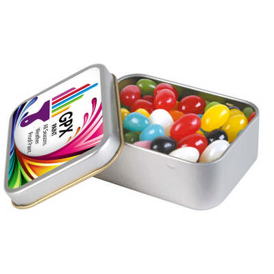 Assorted Colour Mini Jelly Beans in Silver Rectangular Tin LL334_LLNZ