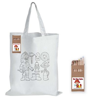Colouring Short Handle Cotton Bag & Pencils