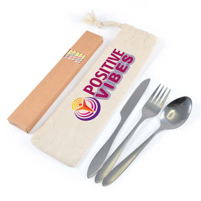 Banquet Cutlery Set & Straws In Calico Pouch