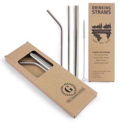 4 Piece Stainless Steel Straw Set