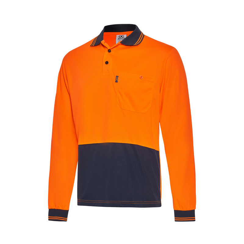 Hi-Vis Two Tone Long Sleeve Cool Breathe Safety Po
