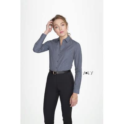 Barnet Womens Long Sleeve Heather Poplin Shirt