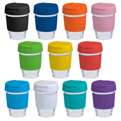 12oz340ml Glass Karma Kup Plastic Flip Lid