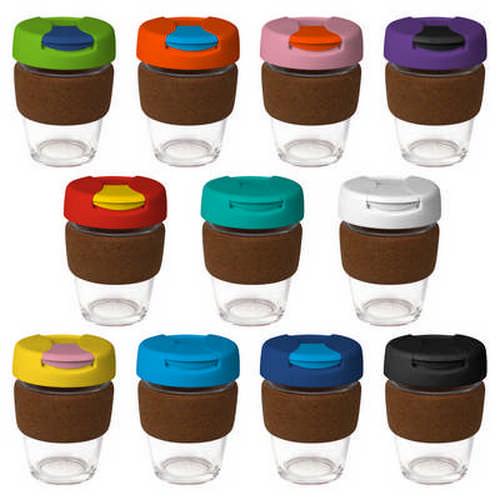12oz340ml Glass Karma Kup Cork Band Plastic Flip L