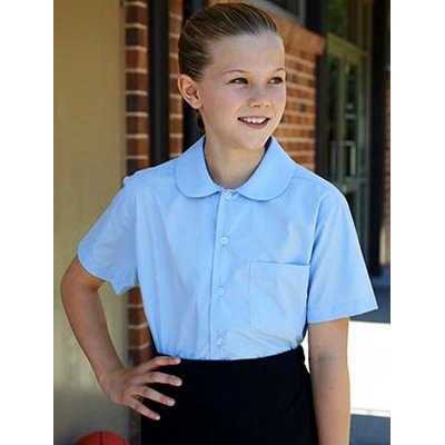 Girls Peter Pan Collar Short Sleeve School Shirt