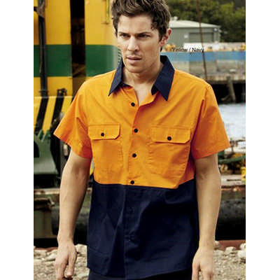 Unisex Adults Hi-Vis Cotton Twill Shirt SS