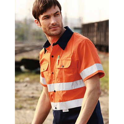 Unisex Adults Hi-Vis SS Cotton Drill Shirt With Re