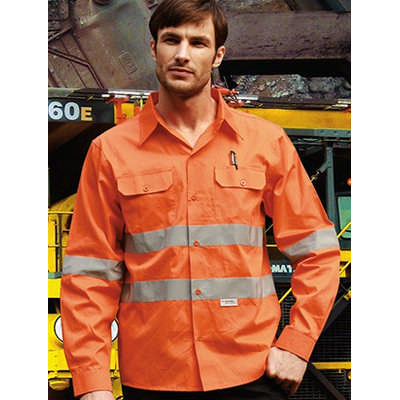 Unisex Adults Hi-Vis LS Cotton Drill Shirt With Re