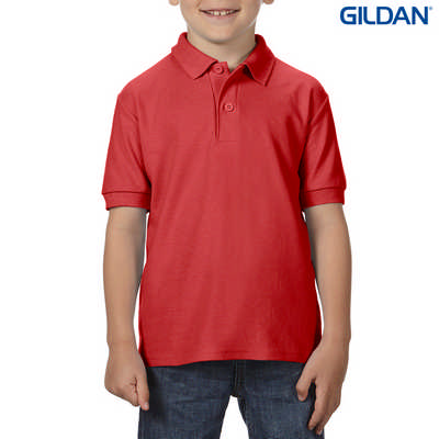 72800B DryBlend Youth Dbl Pique Polo - Red