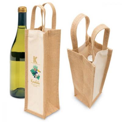 Eco Jute 1 Bottle Wine Bag 1195_PS
