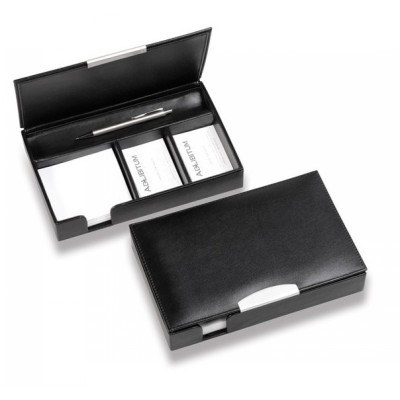 Executive Leather Desk Organiser with Silver Trim