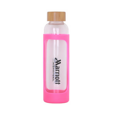 550ml Glass Drink Bottle with Bamboo Lid