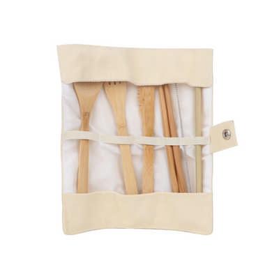 6 pieces Bamboo Cutlery Set