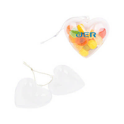 Heart Shaped Clear Plastic Ornament