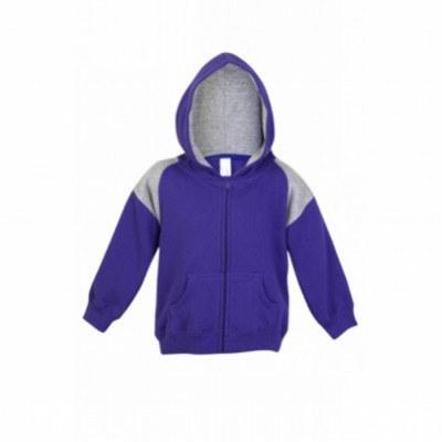 Kids Shoulders Contrast Panel Zip Hoodies