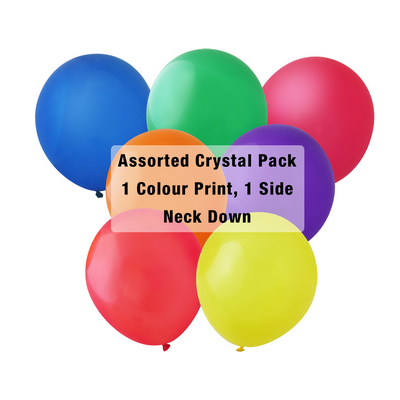30cm Crystal Balloon - Neck Down - Assorted