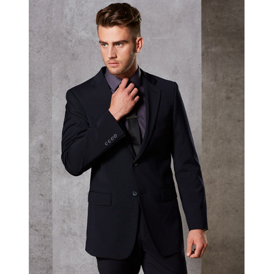 MenS Wool Blend Stretch Two Buttons Jacket