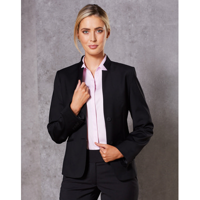 Ladies Wool Blend Stretch Reverse Lapel Jacket