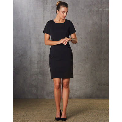 Ladies PolyViscose Stretch, Short Sleeve Dress