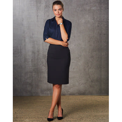 Women PolyViscose Stretch Mid Length Lined Pencil Skirt