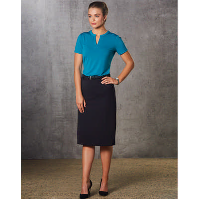 Women PolyViscose Stretch Twill Flexi Waist A-Line Utility Lined Skirt