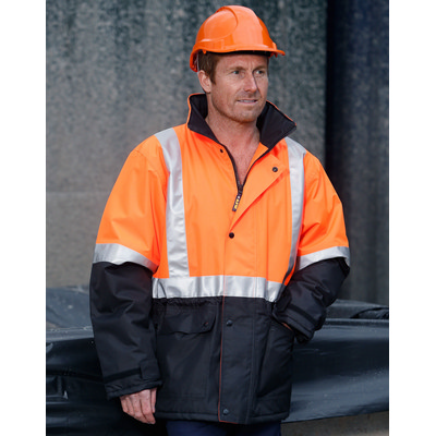 Hi-Vis Two Tone Rain Proof Jacket With Quilt Linin