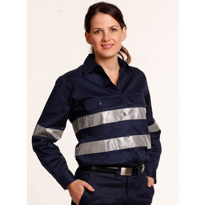 Women Cotton Drill Work Shirt With 3M Tapes