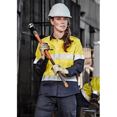 Womens Rugged Cooling Taped Hi Vis Spliced Shirt