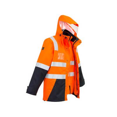 Mens Hi Vis 4 in 1 Waterproof Jacket