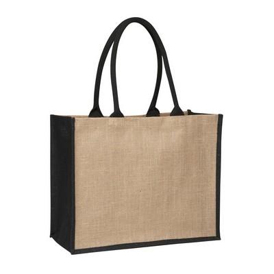 Contrast Black Laminated Jute Supermarket Bag (Fac