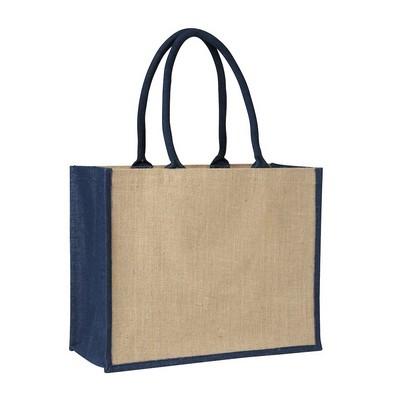 Contrast Blue Laminated Jute Supermarket Bag (Fact