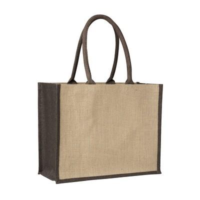 Contrast Brown Laminated Jute Supermarket Bag (Fac