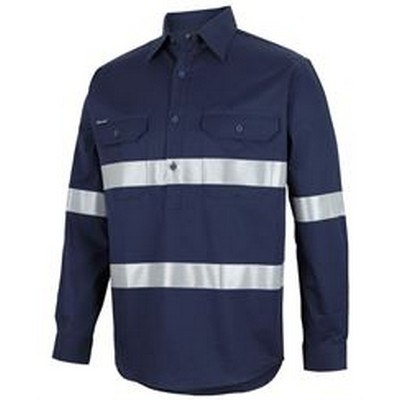 CLOSE FRONT L/S 150G WORK SHIRT REFLECTIVE TAPE