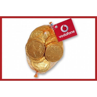 Chocolate coin mesh bag 80g with label