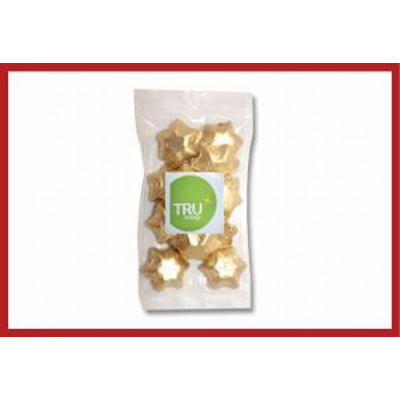 Gold foiled stars 100g cello bag with label
