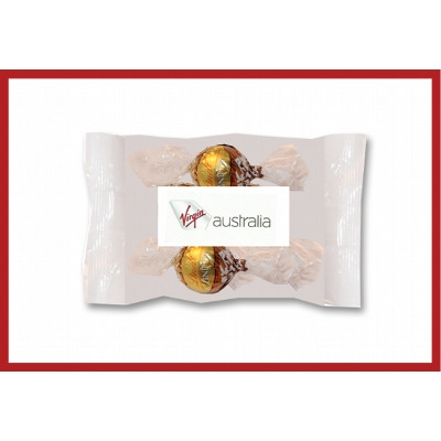 Cello bags of 2 Lindt Chocolates with label