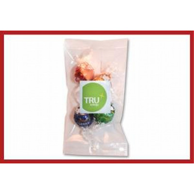 Cello bag of 4 Lindt Chocolates with label