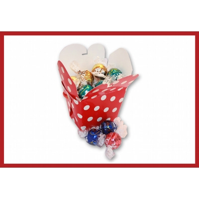 Christmas noodle box with lindor balls and label